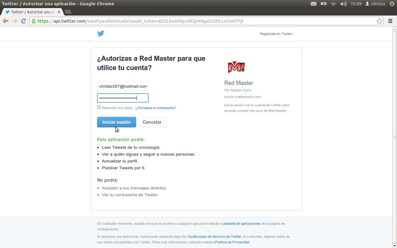 Página de autenticación para iniciar sesión en Red Master usando tu cuenta de Twitter.