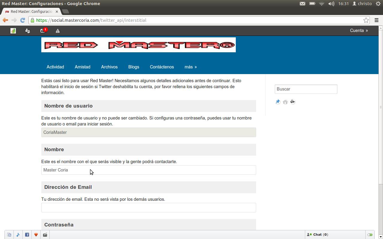 Configura tu cuenta para usar Red Master